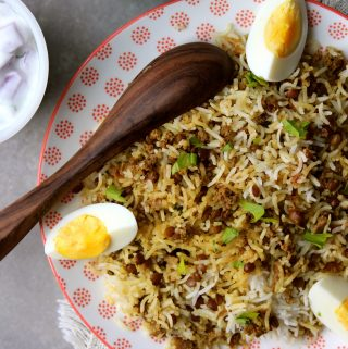 Minced Meat and Lentil Biryani / Keema Masoor Biryani (Memon Masoor Pulao)